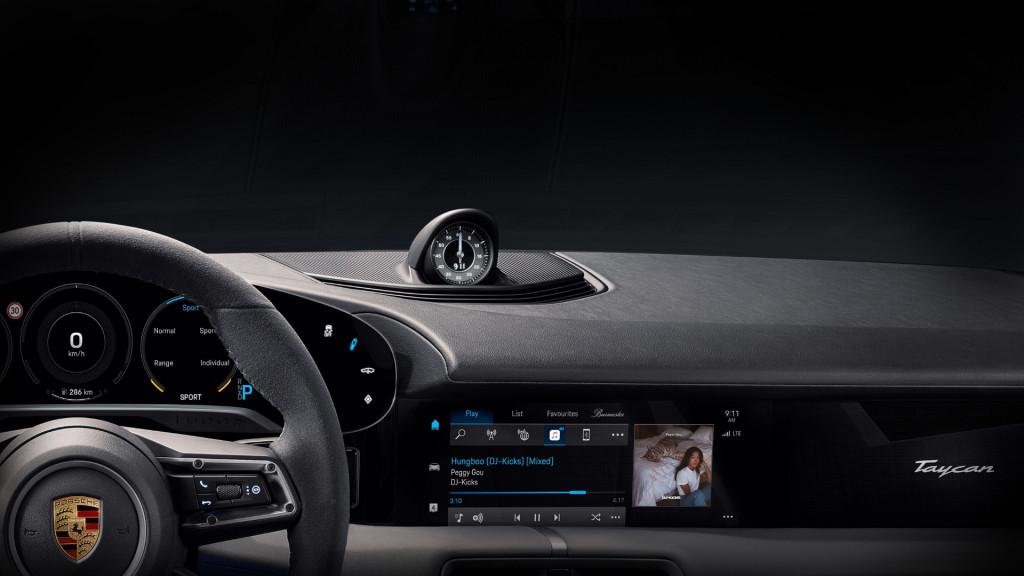2020 Porsche Taycan interior dashboard teaser with Apple Music (Source: Porsche)