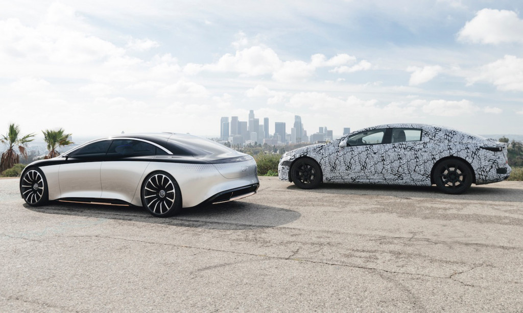 2022 Mercedes-Benz EQS prototype and Vision EQS concept