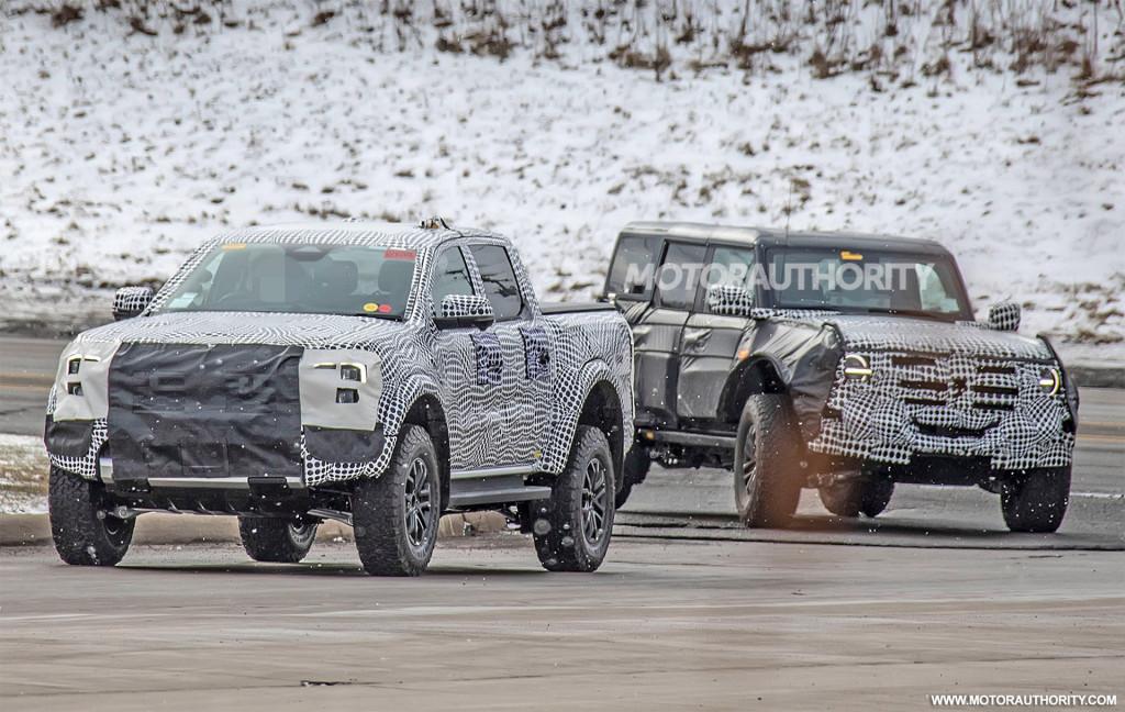 2022 Ford Ranger Raptor and Bronco Raptor (or Warthog) spy shots - Photo credit: S. Baldauf/SB-Medie