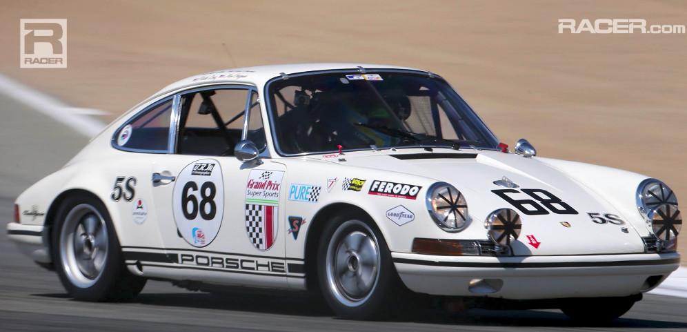 Patrick Long piloting a 1968 Porsche 911 T/R at Laguna Seca is ... on scion racer, audi racer, cadillac racer, morgan racer, mercedes racer, jeep racer, corvette racer, chevy racer, mg racer, camaro racer, lamborghini racer, packard racer, sunbeam racer, mini racer, toyota racer,