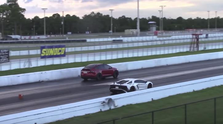 Lamborghini Aventador Sv Drag Races Tesla Model X And Model S Loses