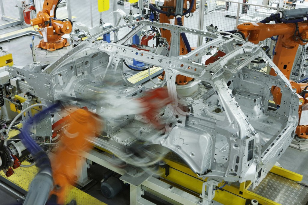 A new Range Rover under construction at Jaguar Land Rover's Solihull plant