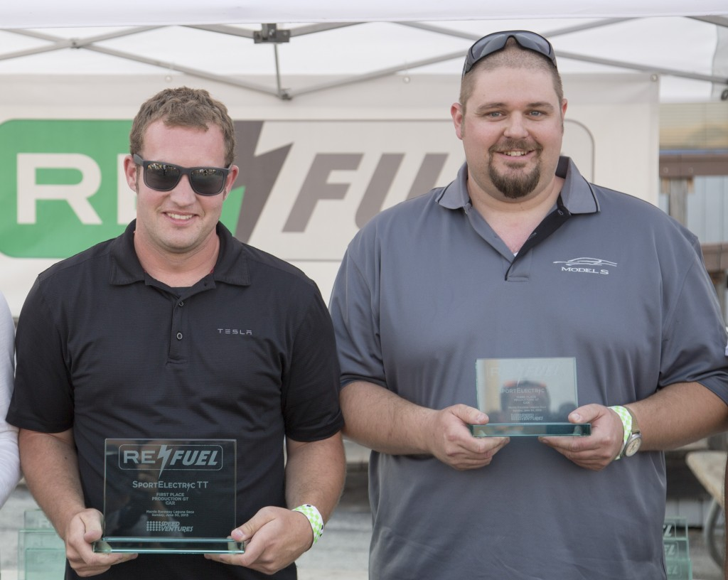 Aaron Bailey and Sean Wheeler of Tesla Motors, at Re:Fuel event, Laguna Seca racetrack, June 2013