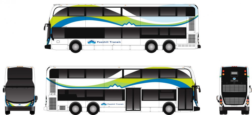 Alexander Dennis bus converted to electric power by Proterra for Foothill Transit in L.A.