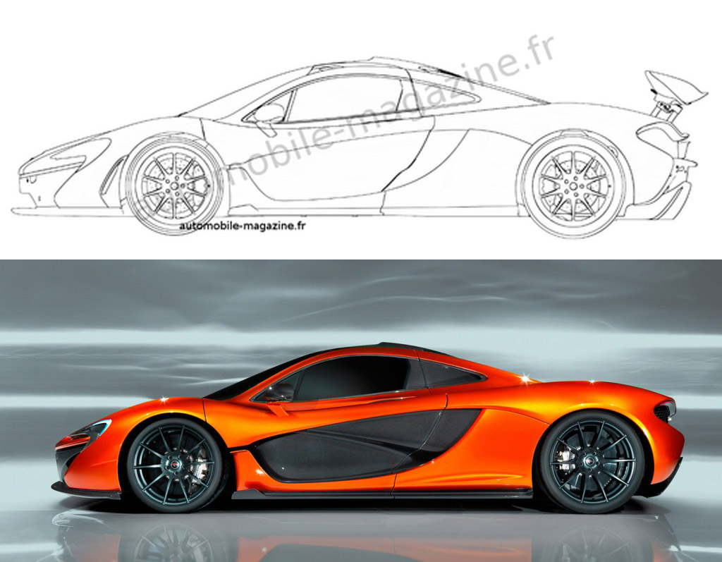 Alleged patent drawing for production McLaren P1 - Image via l'Automobile Magazine
