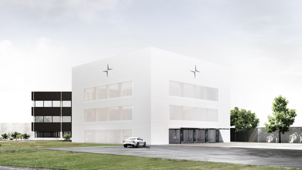 Artist's impression of Polestar's headquarters under construction in Torslanda, Sweden
