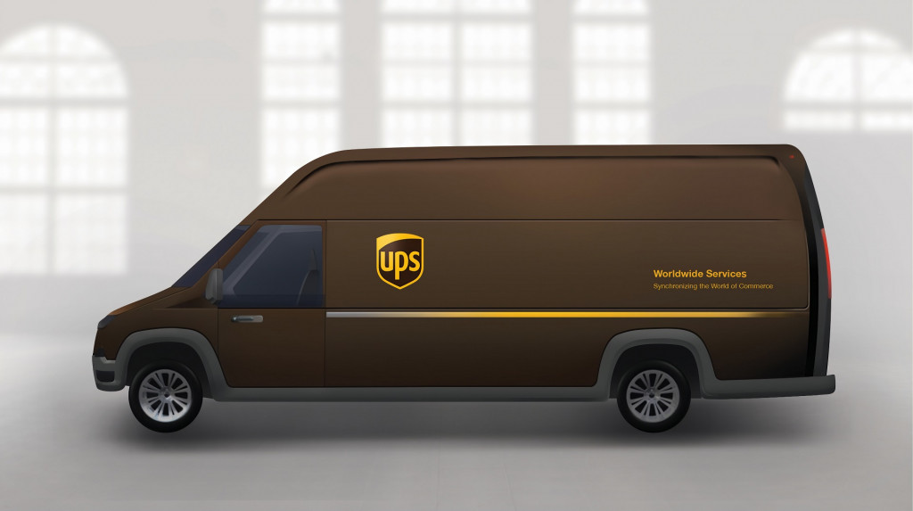 Artist's rendering of possible future UPS plug-in electric delivery truck
