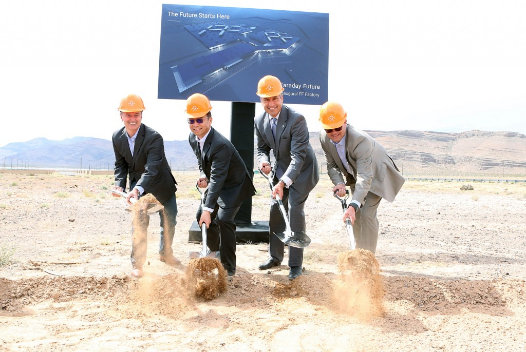 At the groundbreaking for Faraday Future's production facility in North Las Vegas (April 13, 2016)