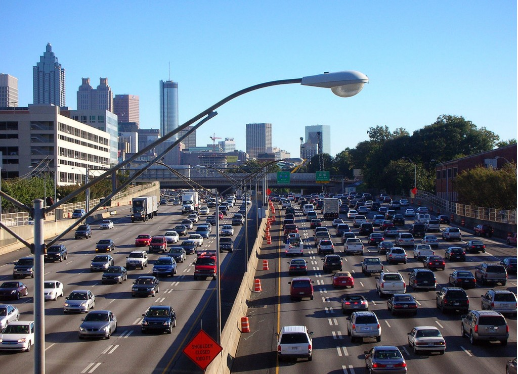 Traffic in Atlanta, Georgia during rush hour (via Wikimedia)