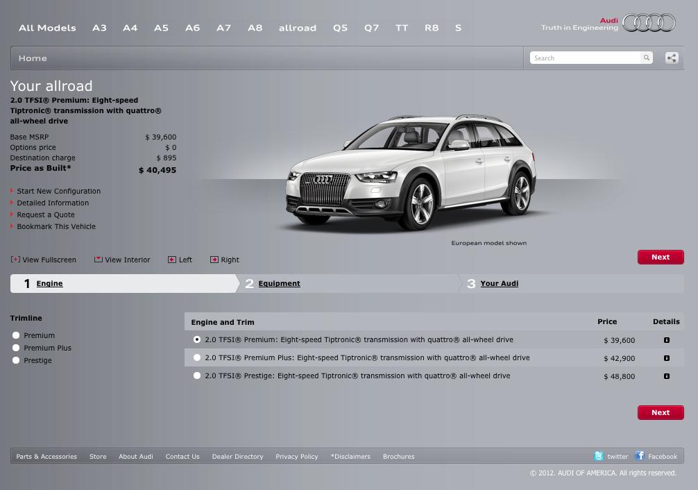 2013 Audi Allroad Configurator Now Online