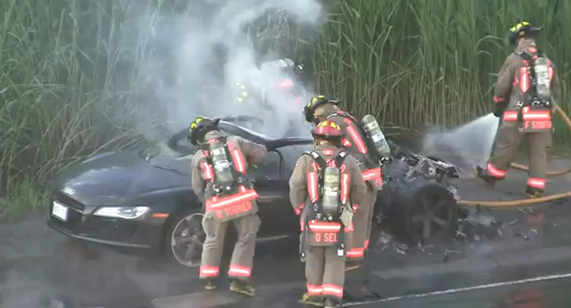 Image: Audi R8 fire subdued by firefighters on Toronto highway, size: 800 x 431, type: gif ...