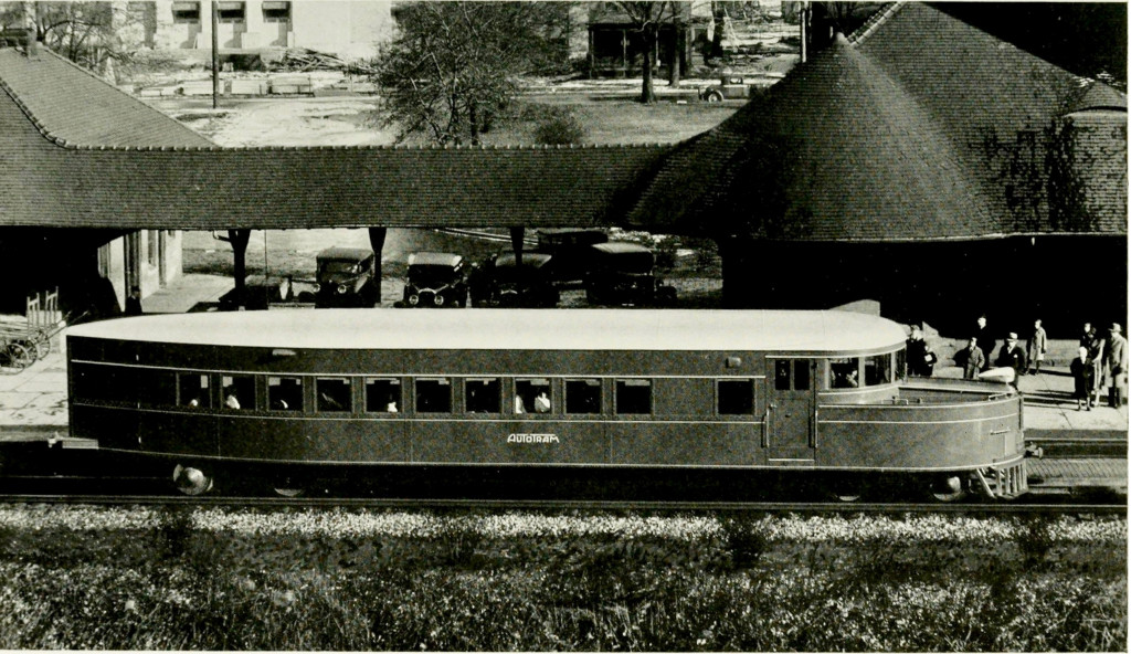 Autotram readies at the Battle Creek station for one of its test trips through southern Michigan
