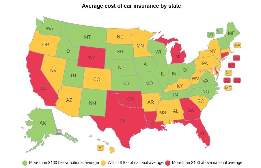 the most and least expensive states for car insurance. Black Bedroom Furniture Sets. Home Design Ideas