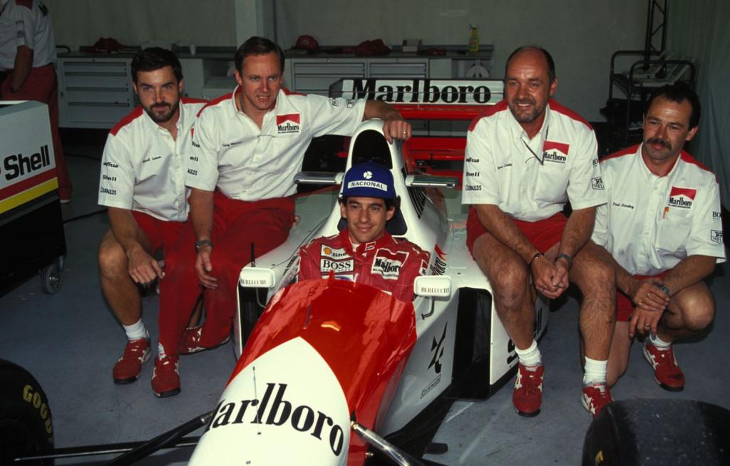Ayrton Senna in the McLaren MP4/8 Formula 1 race car