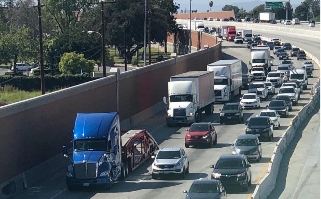 Big rigs in traffic
