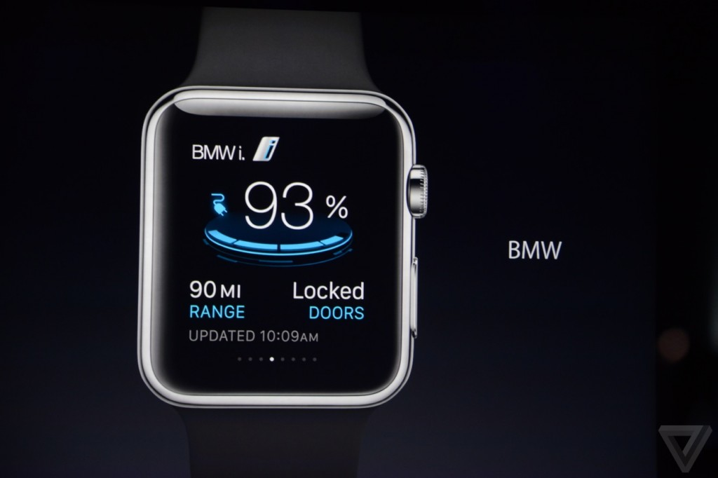 BMW app displayed on the Apple Watch on 9-9-14 (via The Verge)