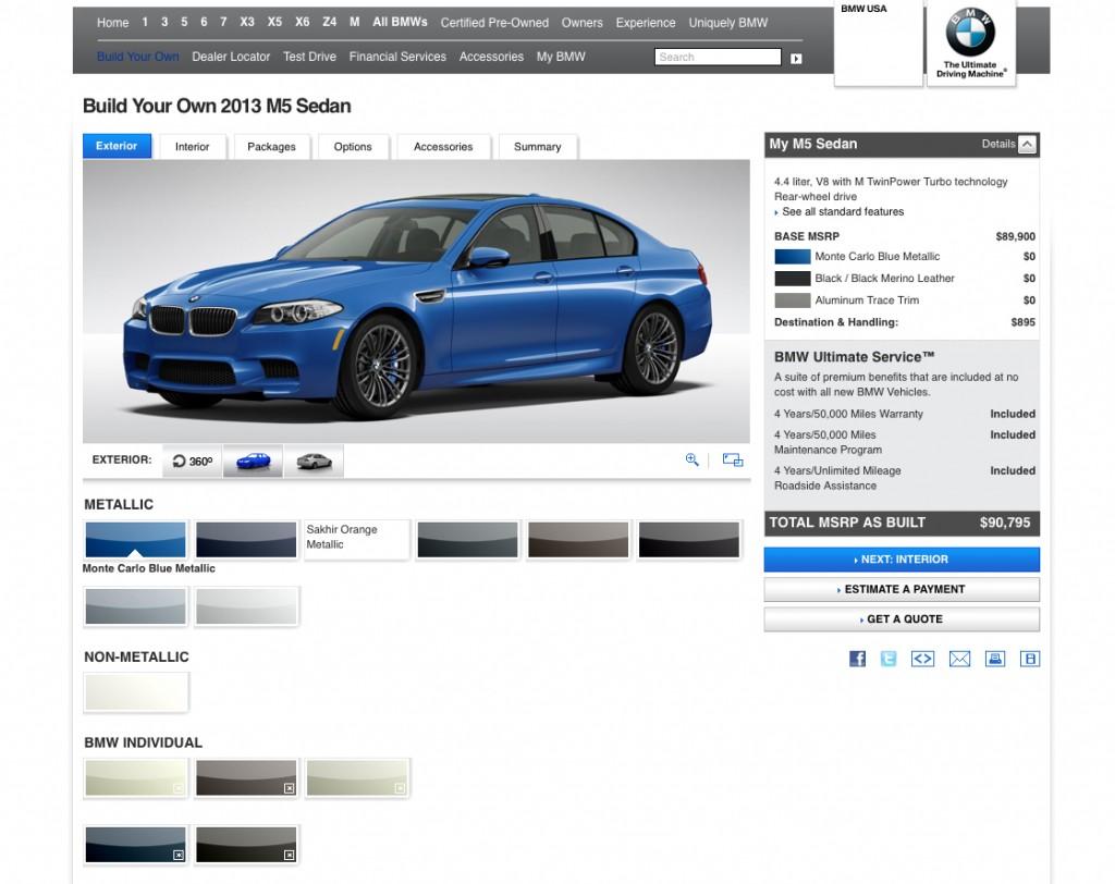 BMW's 2013 M5 configurator