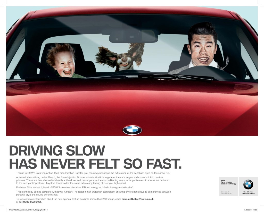 BMW's 'Force Injection Booster' April Fools Day prank