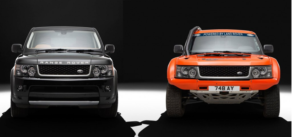 Image: Bowler EXR rally raid SUV and the Range Rover Sport on which ...