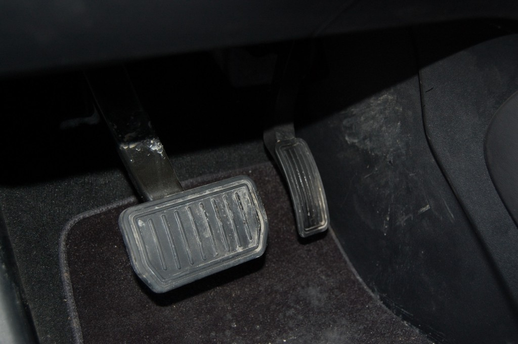 Brake and accelerator pedals of 2013 Tesla Model S  [photo: David Noland]