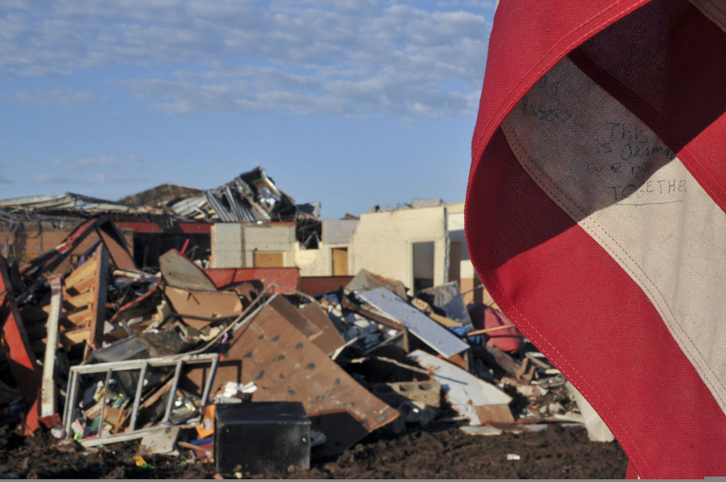 Briarwood Elementary School in Moore, Oklahoma, two days after being destroyed by a tornado
