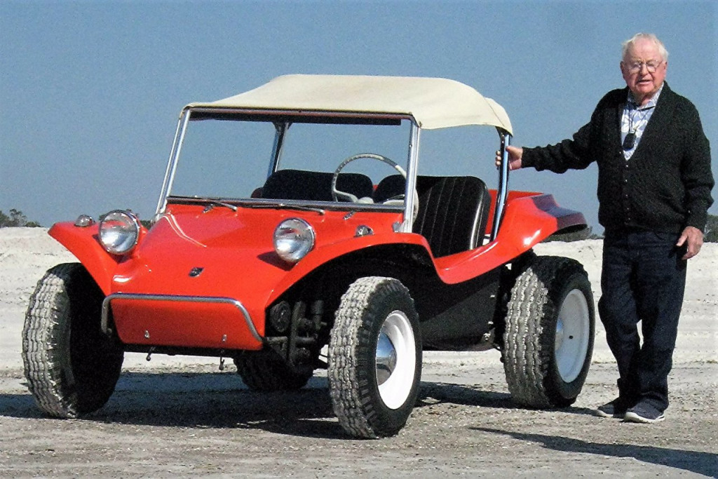 Bruce Meyers in a recent photo with the original Meyers Manx   Volkswagen