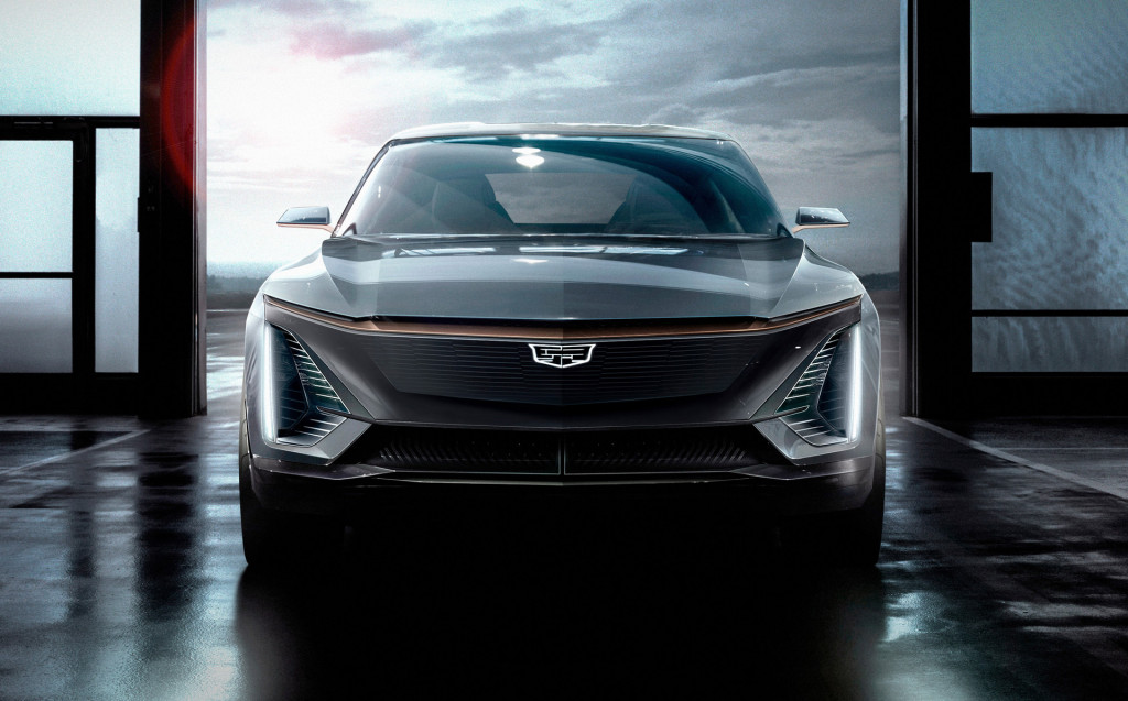 Teaser for Cadillac Lyriq electric cossover SUV based on GM BEV3 modular platform
