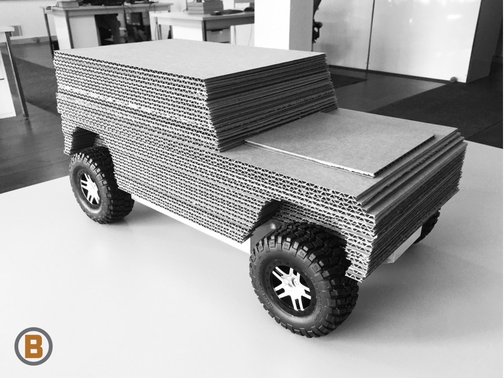 Cardboard model of Bollinger electric off-road utility truck