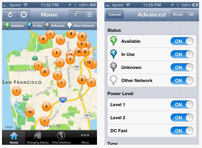 Chargepoint's electric car charging station app
