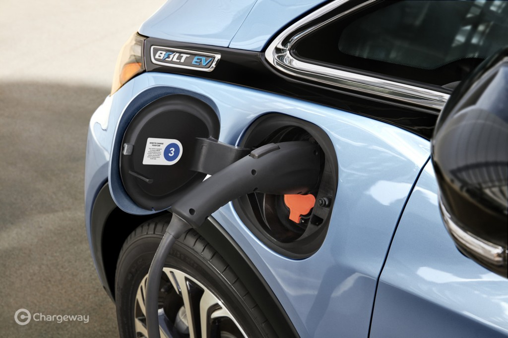 Chargeway electric-car charging symbol inside charge-port door