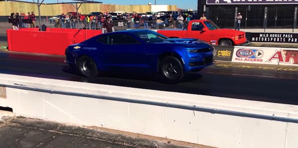 Chevrolet eCOPO Camaro pulls a wheelie