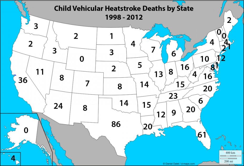 Child vehicular heatstroke deaths - by state, 1998-2012