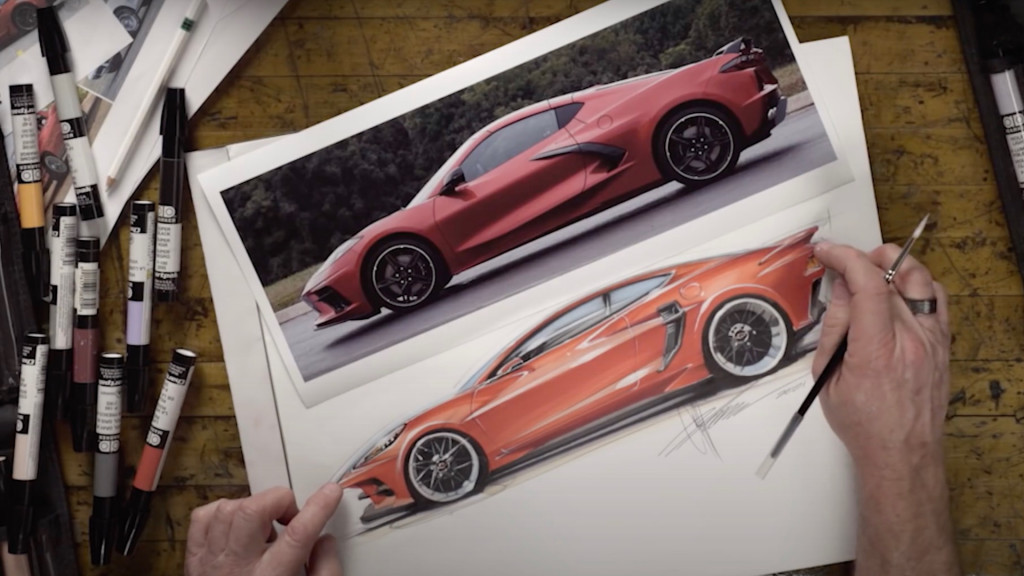 Chip Foose draws the Chevrolet Corvette C8