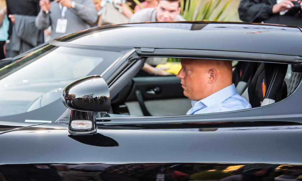 Christian von Koenigsegg behind the wheel of the CCXR in Monterey