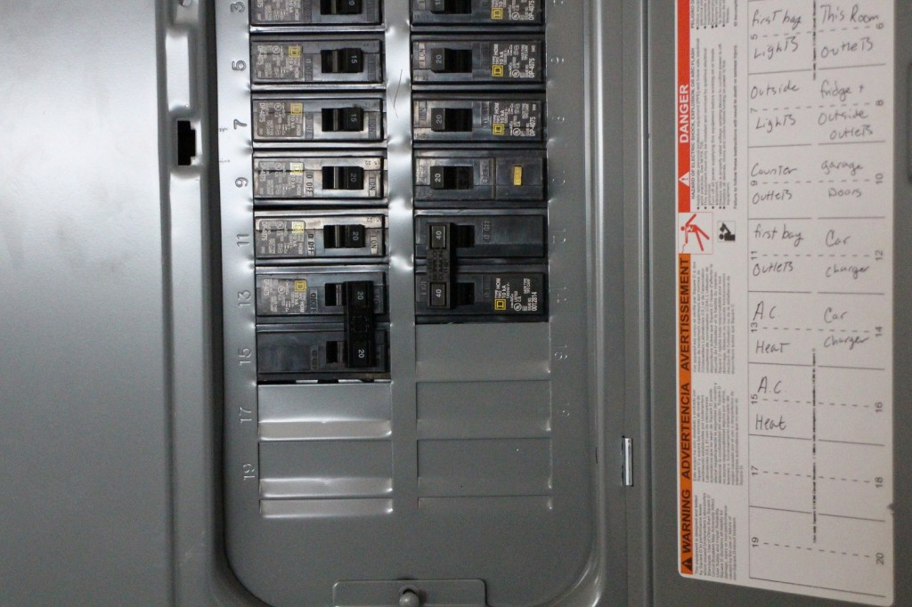 circuit-breaker box showing 240-volt circuit for electric-car charging  station