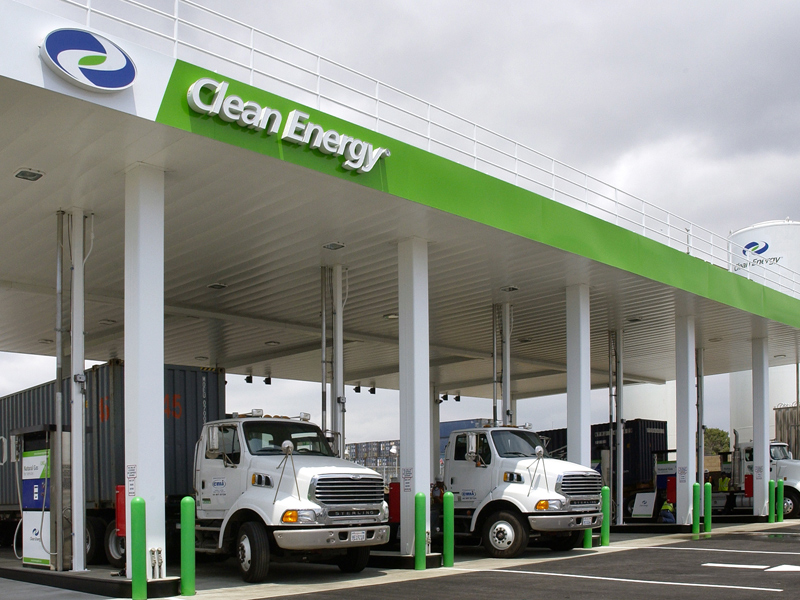 Clean Energy Fuels natural gas refueling station Long Beach, California.
