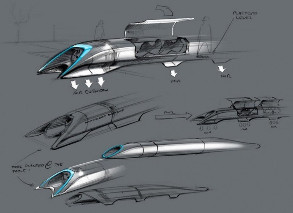 Concept drawings for Elon Musk's 800-mph Hyperloop