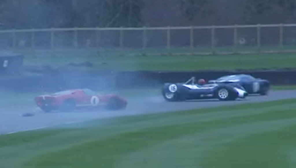 Watch a Ford GT40 collide with a Can-Am McLaren at Goodwood