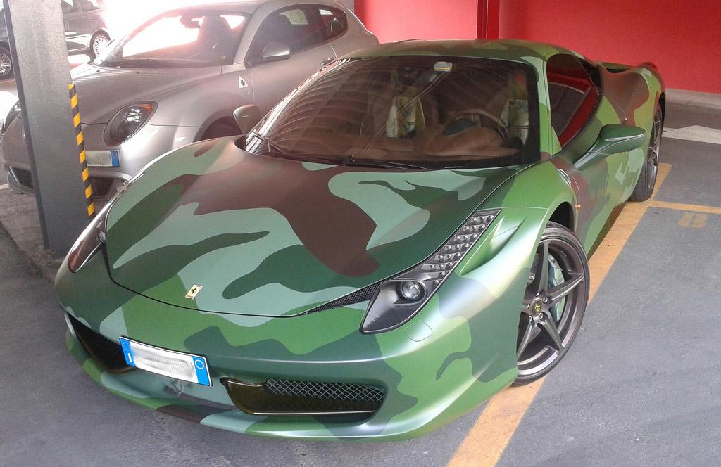 Fiat Heir Lapo Elkann Shows Off His Military Pattern Ferrari 458