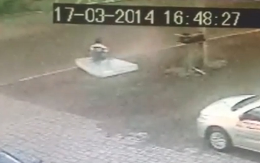 Cyclist Hit By Truck Lands Safely On… A Mattress? Security Video Explains It All