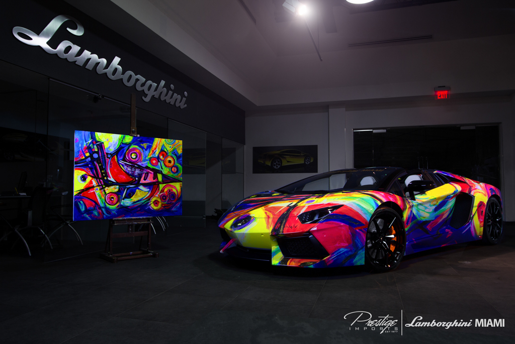 Duaiv Lamborghini Of Miami Team Up For Aventador Roadster Art Car
