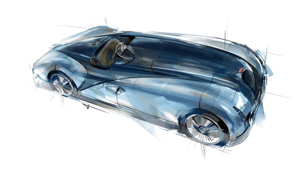 Design sketch of the Type 57 G Tank, the winning race car from 1937's Le Mans race