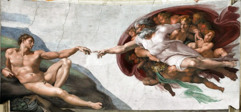 "Detail from the ceiling of the Sistine Chapel, ""Creation of Adam"" (photo by Michelangelo Buonarroti)"
