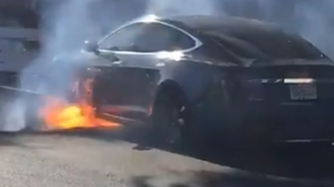 Director's Tesla Model S catches fire in L.A.