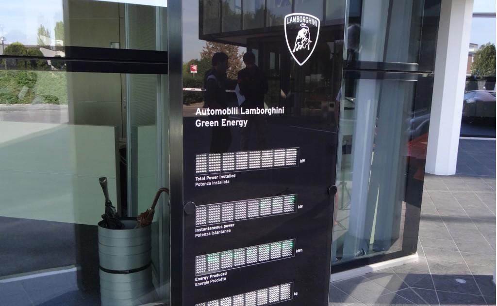 Display at Lamborghini's factory showing solar power production