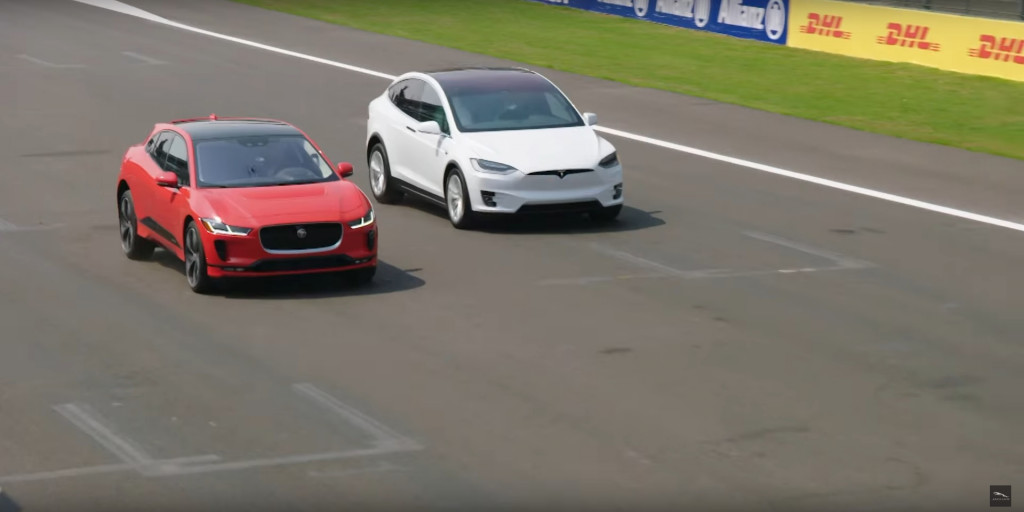 Image Drag Race Between 2019 Jaguar I Pace And Tesla