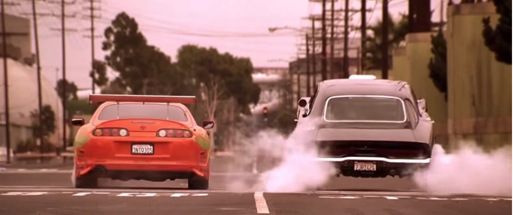 Drag race scene from 'The Fast and the Furious'