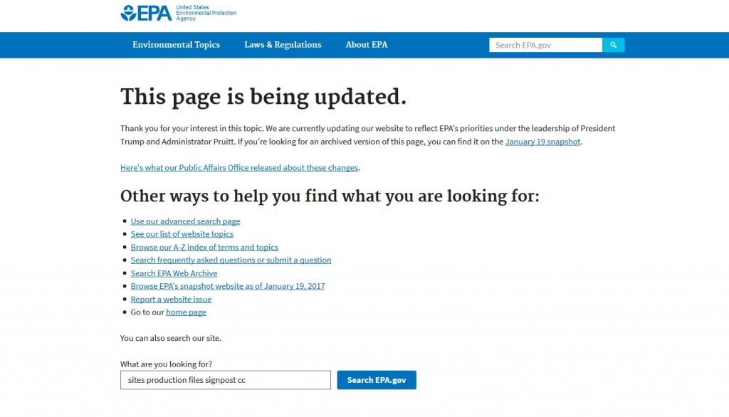 EPA website redirect page replaces scientific information on climate change, April 30, 2017