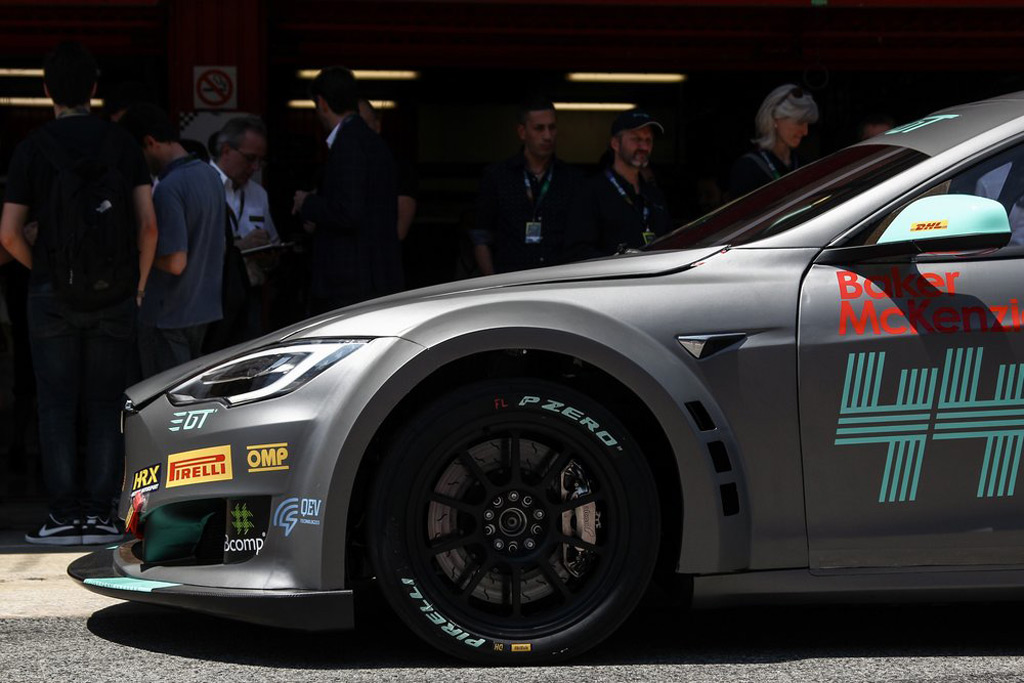 Tiff Needell drives the Electric GT Tesla Model S race car