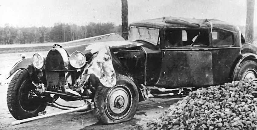 Ettore Bugatti's rebodied Bugatti Royale prototype after crash in 1930 or 1931